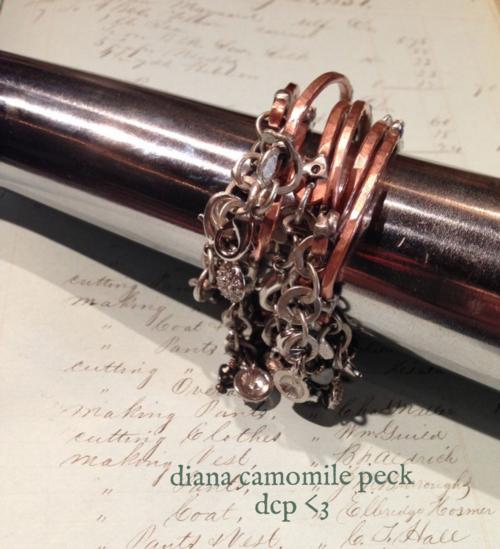 diana camomile peck, vintage clementine, for the love of soldering, handmade, original design, soldered, copper bracelets