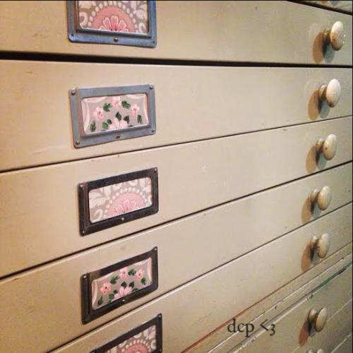 vintage wallpaper -  map drawers