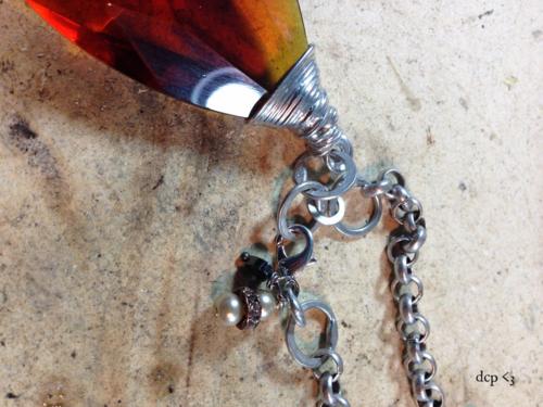 soldered crystal necklace - handmade links